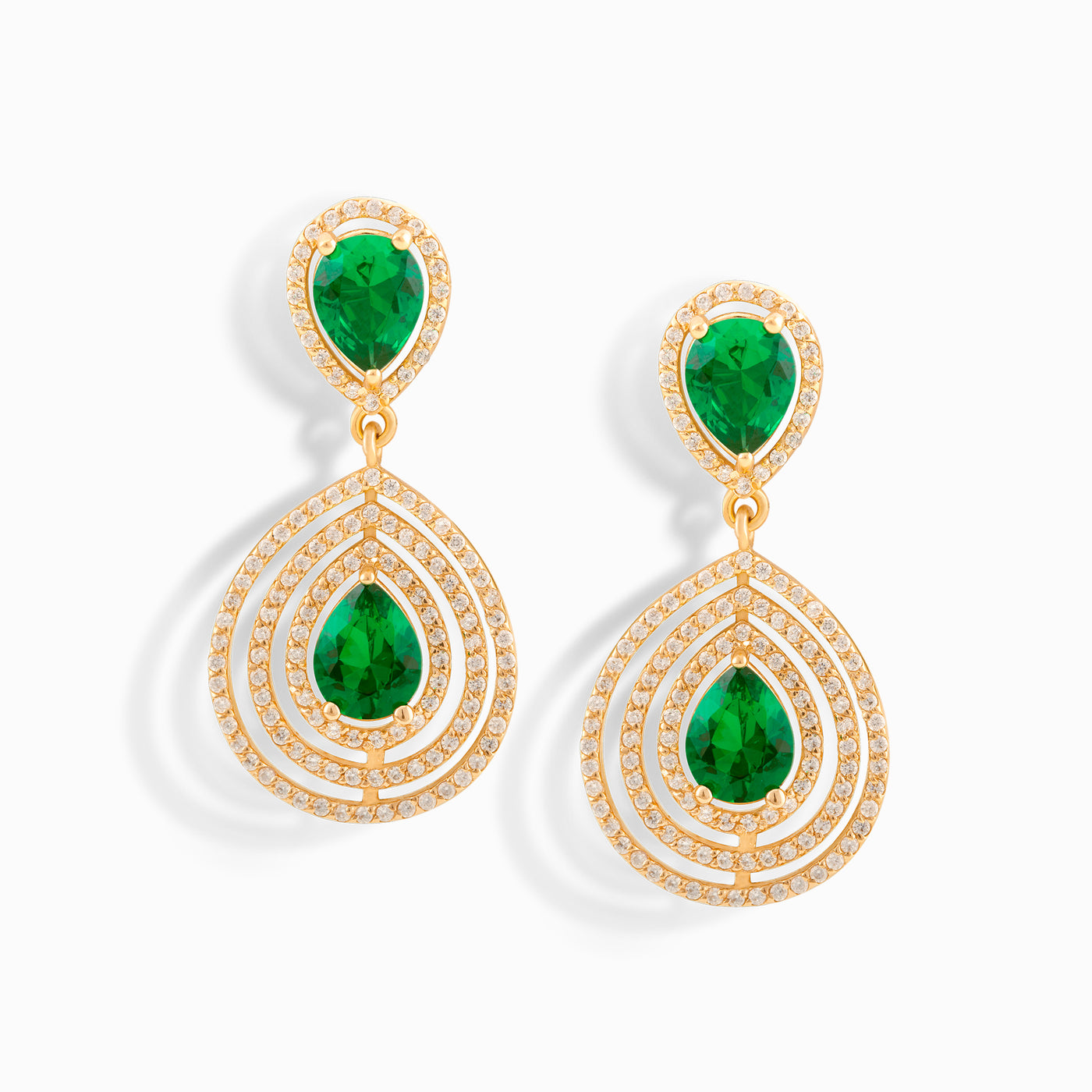 Double Emerald Sun Earrings