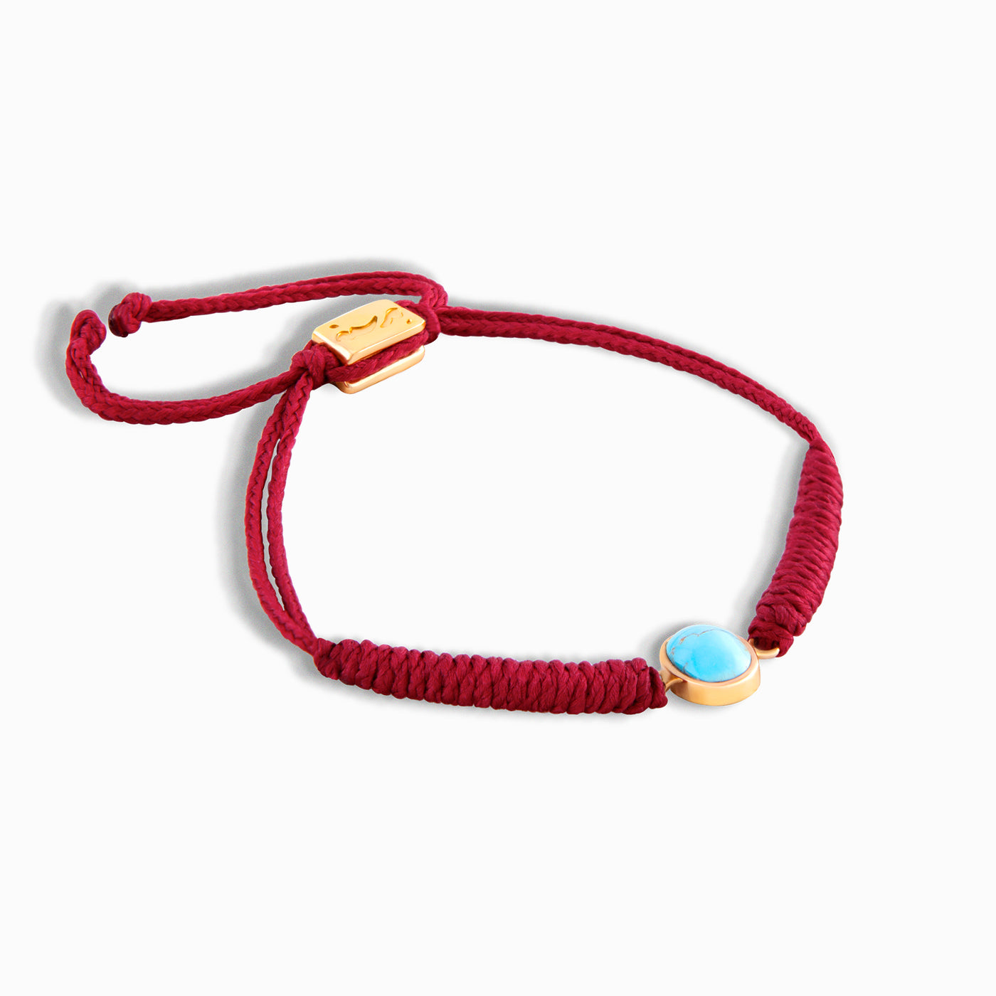 Red Vertical Turquoise Braided Bracelet