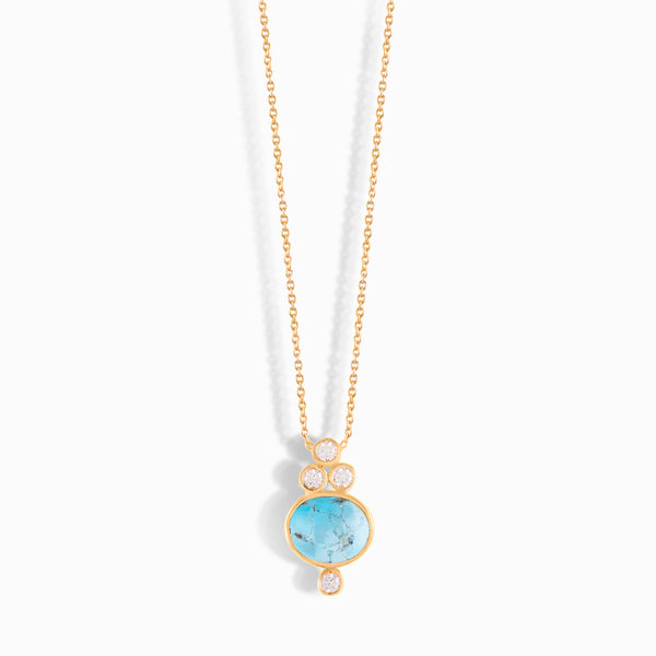 Turquoise Necklace with Diamonds