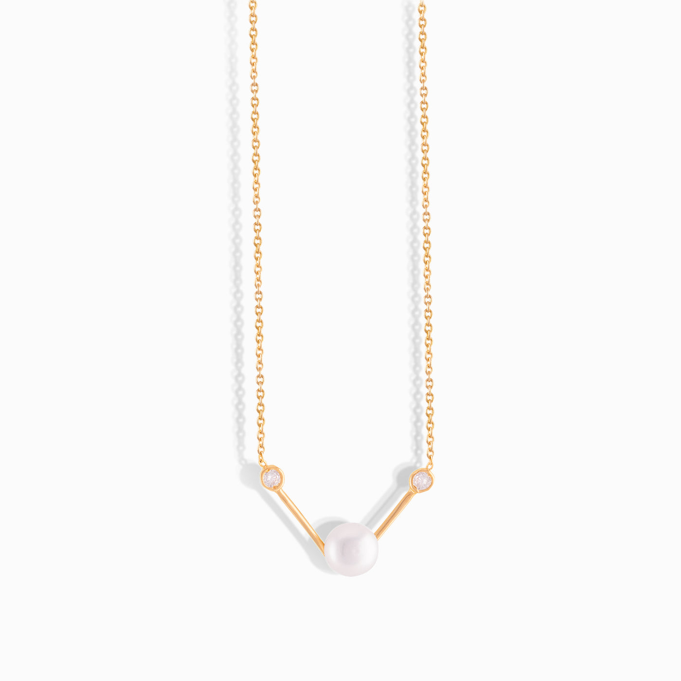 Diamond Pearl Triad Necklace