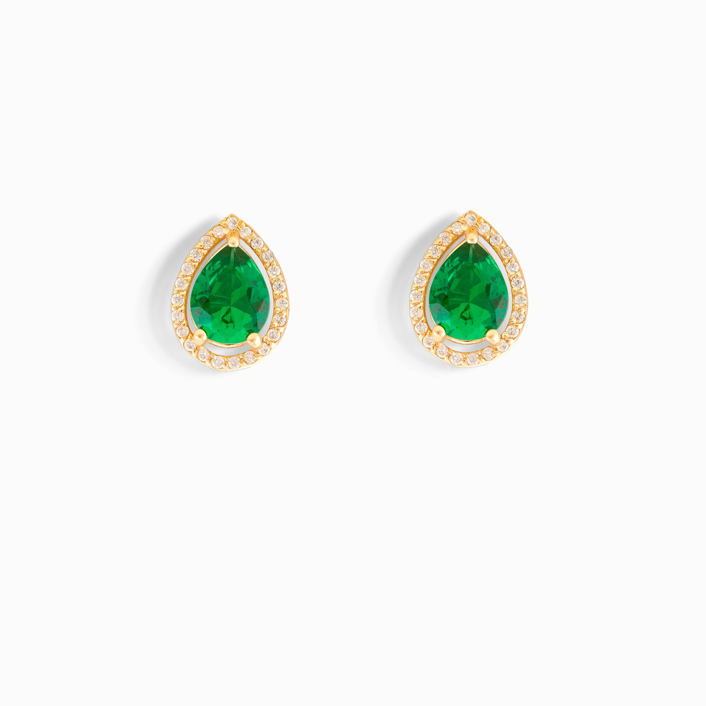 Pear Shaped Emerald Stud Earrings