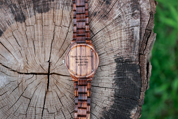 personalized gift, engraved wood watch, bewell engraved wood watch, zebrawood watch