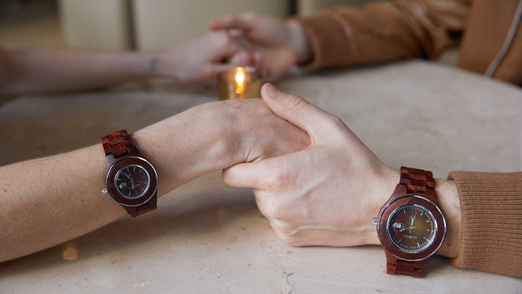 love, couple, relationship, personalized gift, wood watch for her and him
