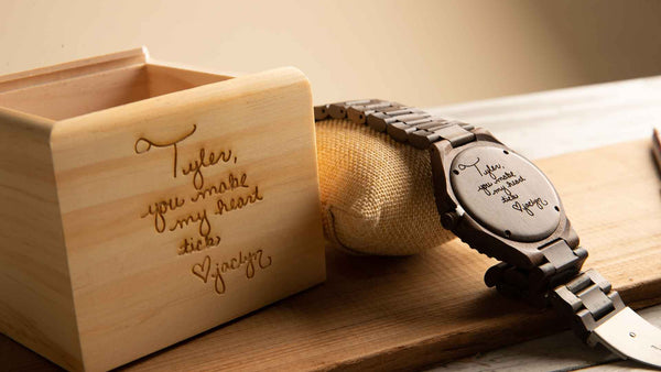 engraved wood watch, personalized gift, engraving gift, handwriting engraving message