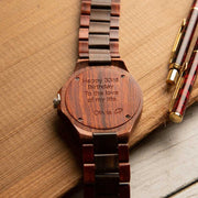 Engraved watches, custom watches by Bewell, Red sandalwood