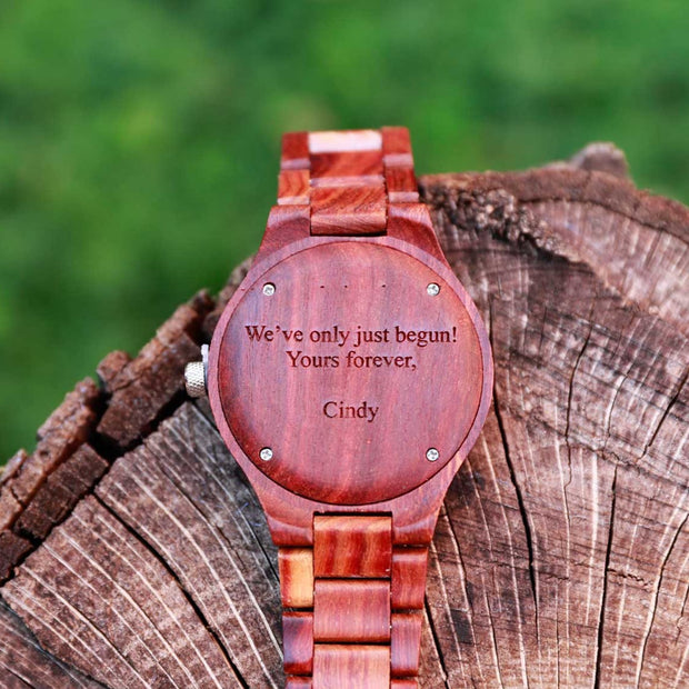 Engraved watches, custom watches by Bewell, personalized wood watch