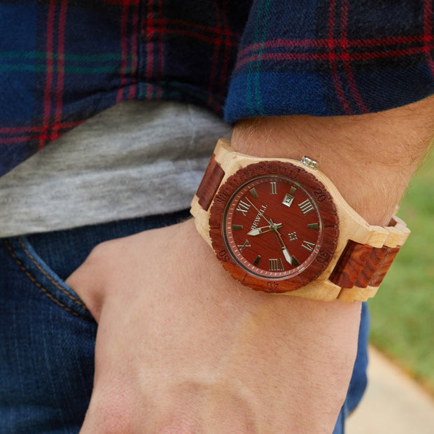 Maple red sandalwood wood watches for men Bewell watches engraved watches