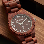 Bewell watches, engraved watches, Red Sandalwood Pluto watch