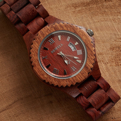 Annatto wood watch for men Bewell watches Engraved Watches