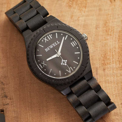 Black Sandalwood Pluto - Wood Watch For Men - Bewell Watches