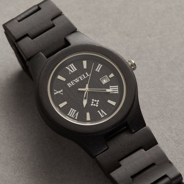 African Blackwood Minimalist Wood Watch For Men Bewell Watches