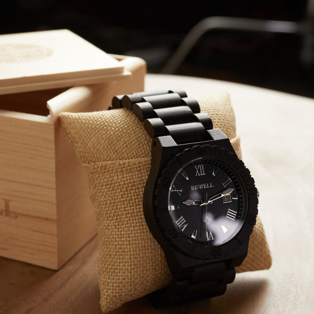 Ebony Mars wood watches, Bewell wood watches for men engraved watches
