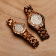 Zebrawood watches for men women and couple Bewell Watches Engraved Watches