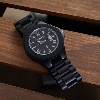 African Blackwood wooden watches for men, Bewell watches, Engraved Wood Watches, Wood Watches