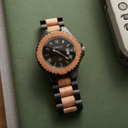 Ebony and Jujube wood watch for men, Bewell watches, Engraved watches