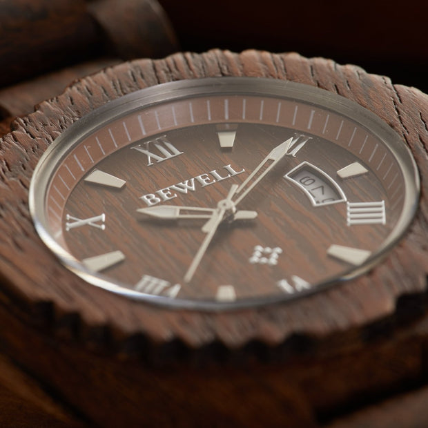 Chestnut Wood Watches For Men Bewell Watches Engraved Watches