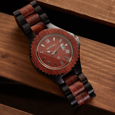 Red and black sandalwood watch
