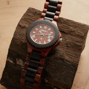 Red black sandalwood watch for men Bewell Watches Engraved Watches