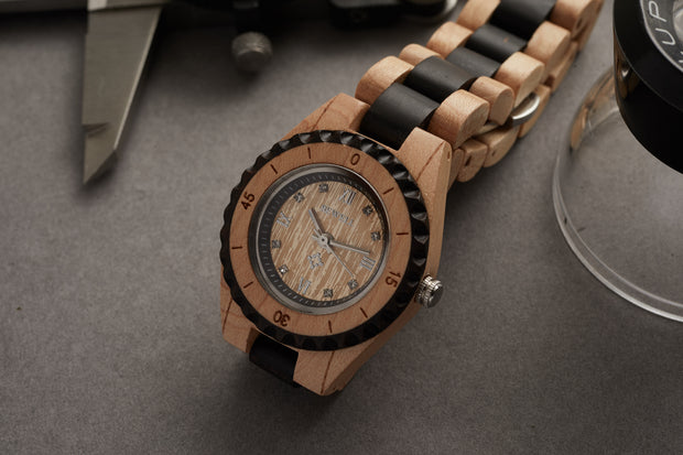 Maple and ebony wood watches for men Bewell Watches Engraved watches