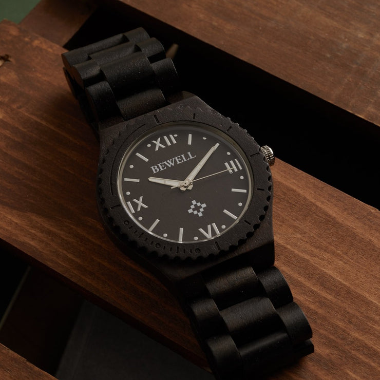 Ebony Pluto Wood Watches For Men Bewell Wood Watches Engraved Watches