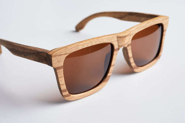 wood sunglasses, zebrawood, bewell sunglasses, engraved sunglasess