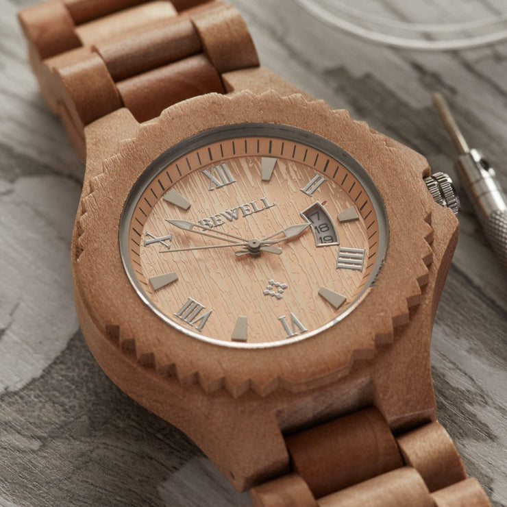 Jujube wood watches for men Bewell watches Engraved watches