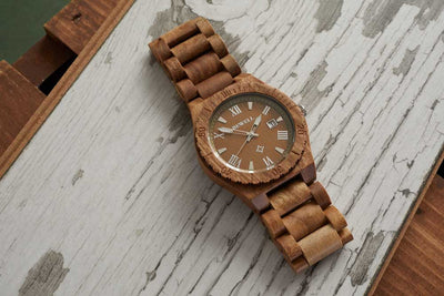 Bewell walnut wood watch for men