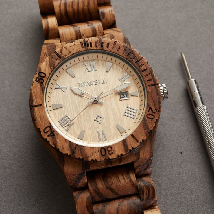 Premium Unisex Zebra Wood Watch