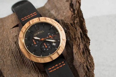 Bewell Wood Watches ZS-W157A - Black and Olive Wood