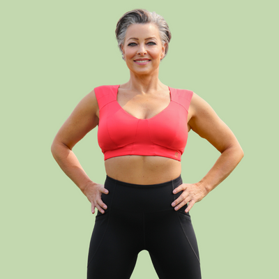 Freedom Bra Midi - Eco Jersey in color Poppy Red + Neo Leggings
