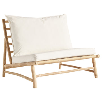 Bamboo lounge chair met kussens