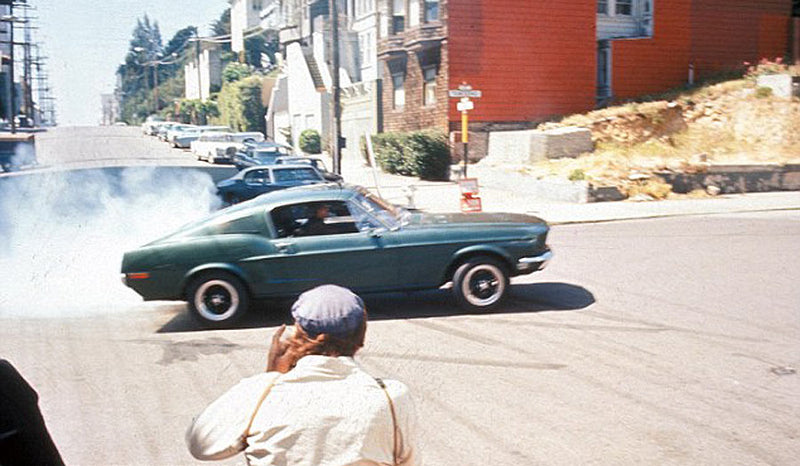 Filming Bullitt in the street of San Francisco.