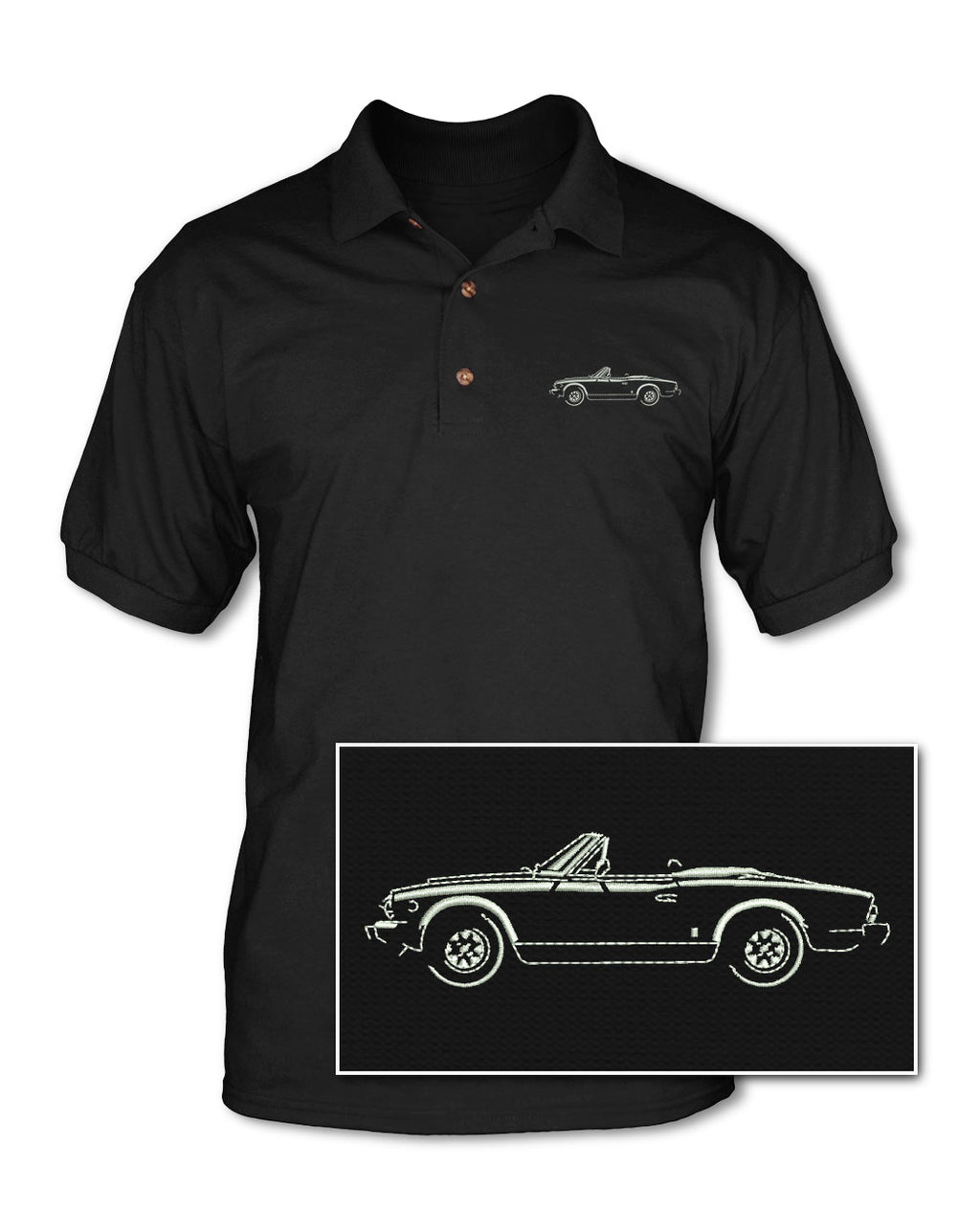 Fiat 124 Sport Spider Convertible 1966 - 1973 Adult Pique Polo Shirt - Side View