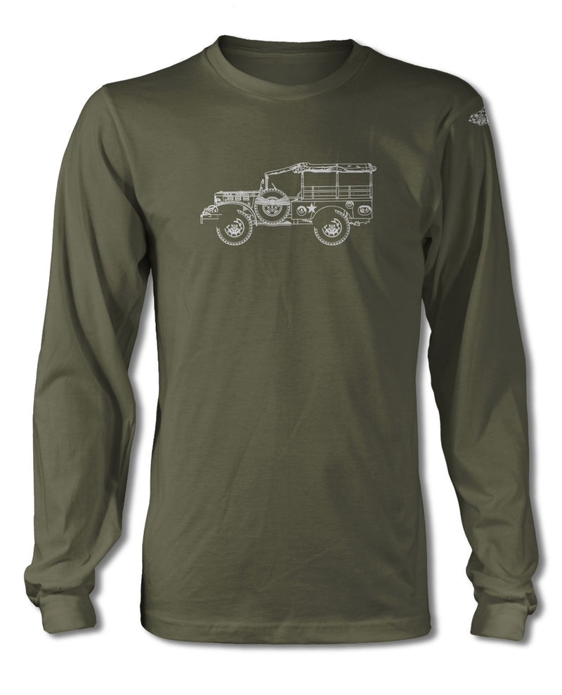 1944 Dodge WC-51 Weapons Carrier WWII T-Shirt - Long Sleeves - Side View