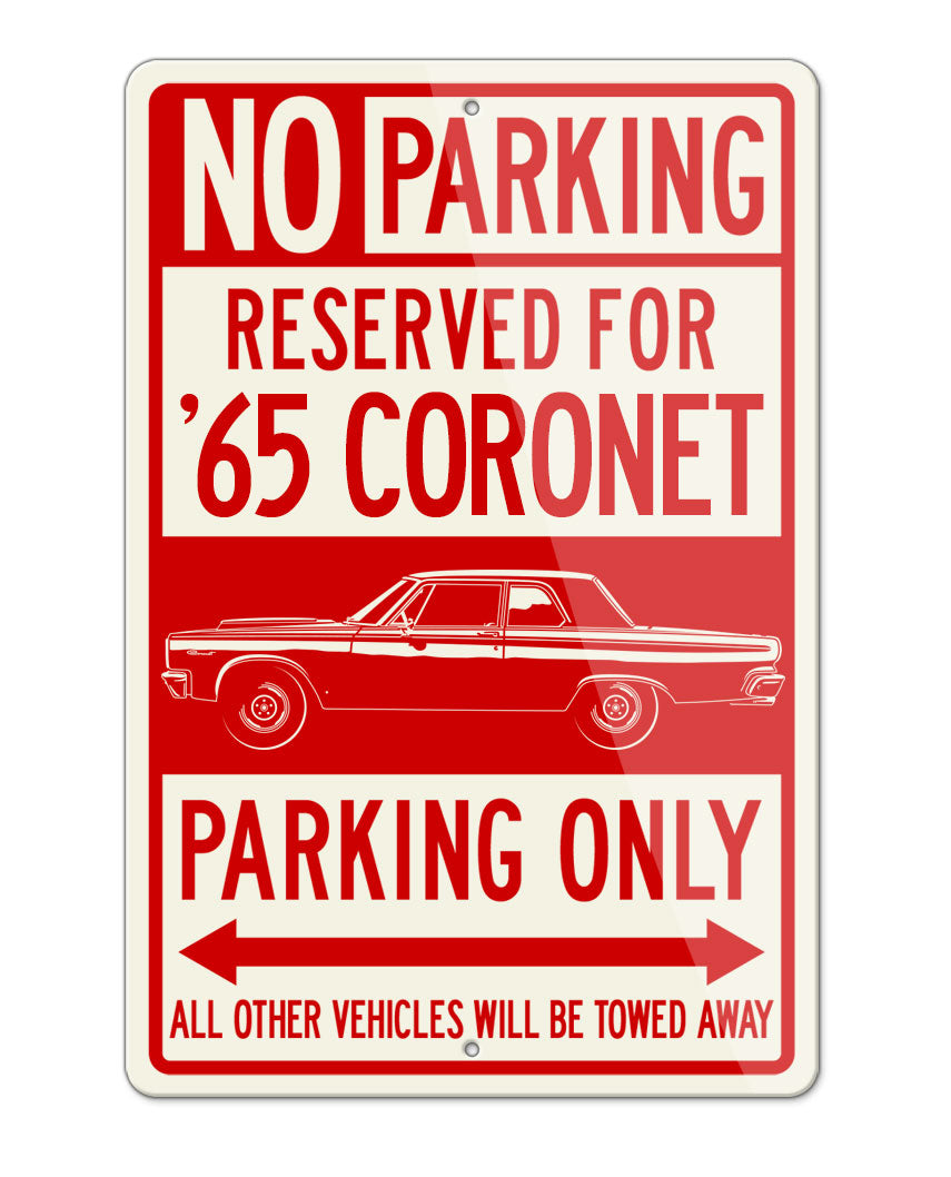 1965 Dodge Coronet Code A990 Parking Only Sign