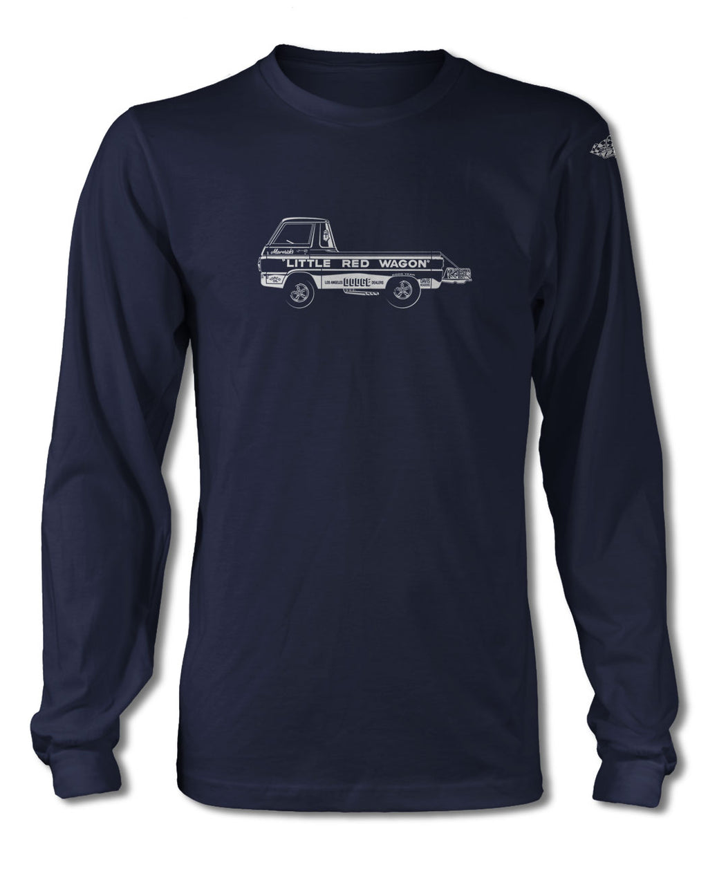 "1965 Dodge A100 Pickup ""Little Red Wagon"" Dragster T-Shirt - Long Sleeves - Side View"