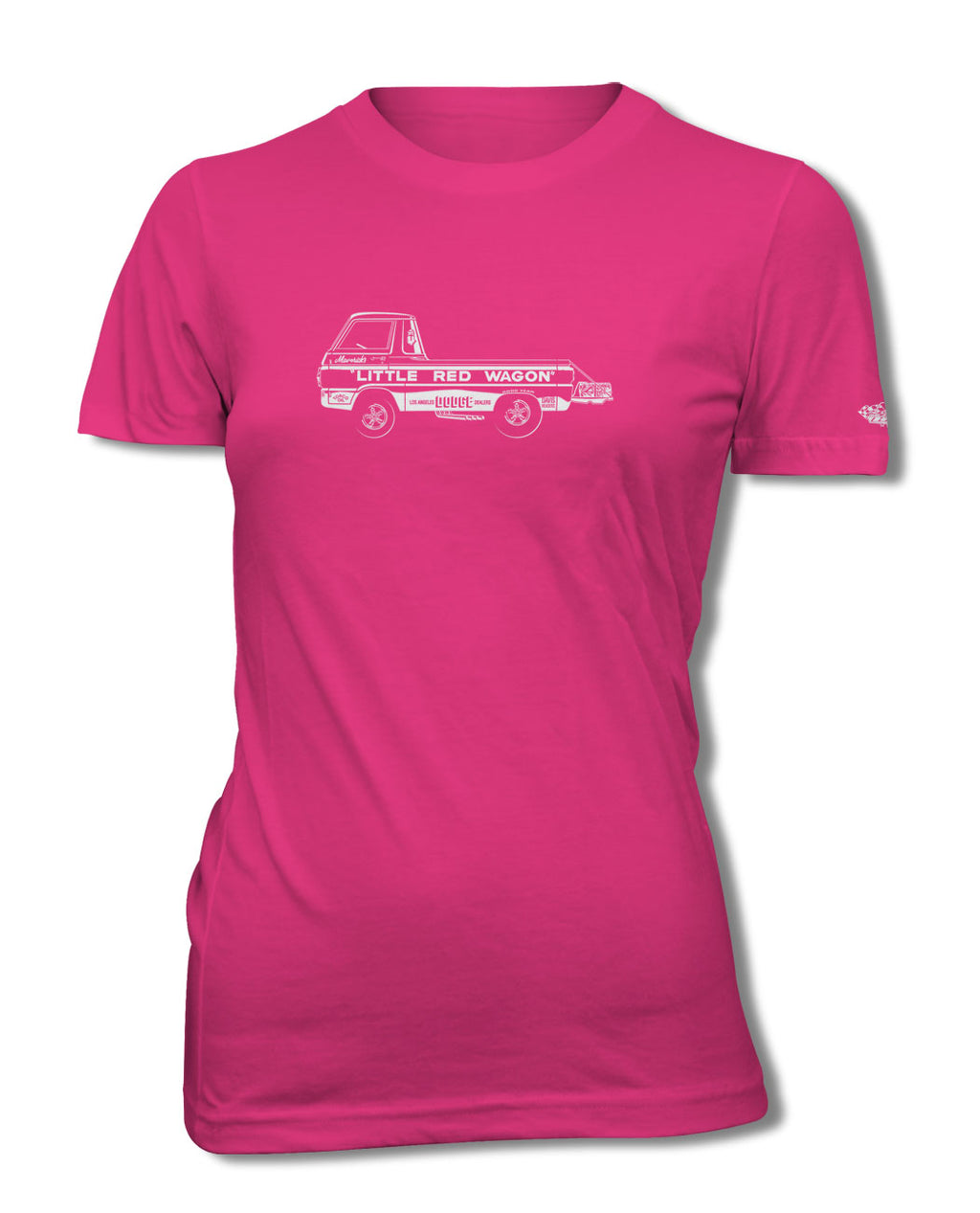 "1965 Dodge A100 Pickup ""Little Red Wagon"" Dragster T-Shirt - Women - Side View"