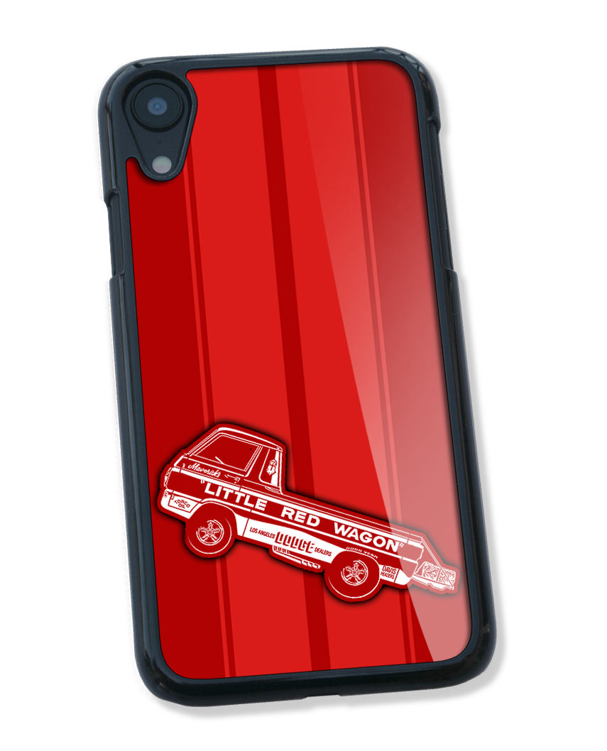 "1965 Dodge A100 Pickup ""Little Red Wagon"" Wheelstand Smartphone Case - Racing Stripes"