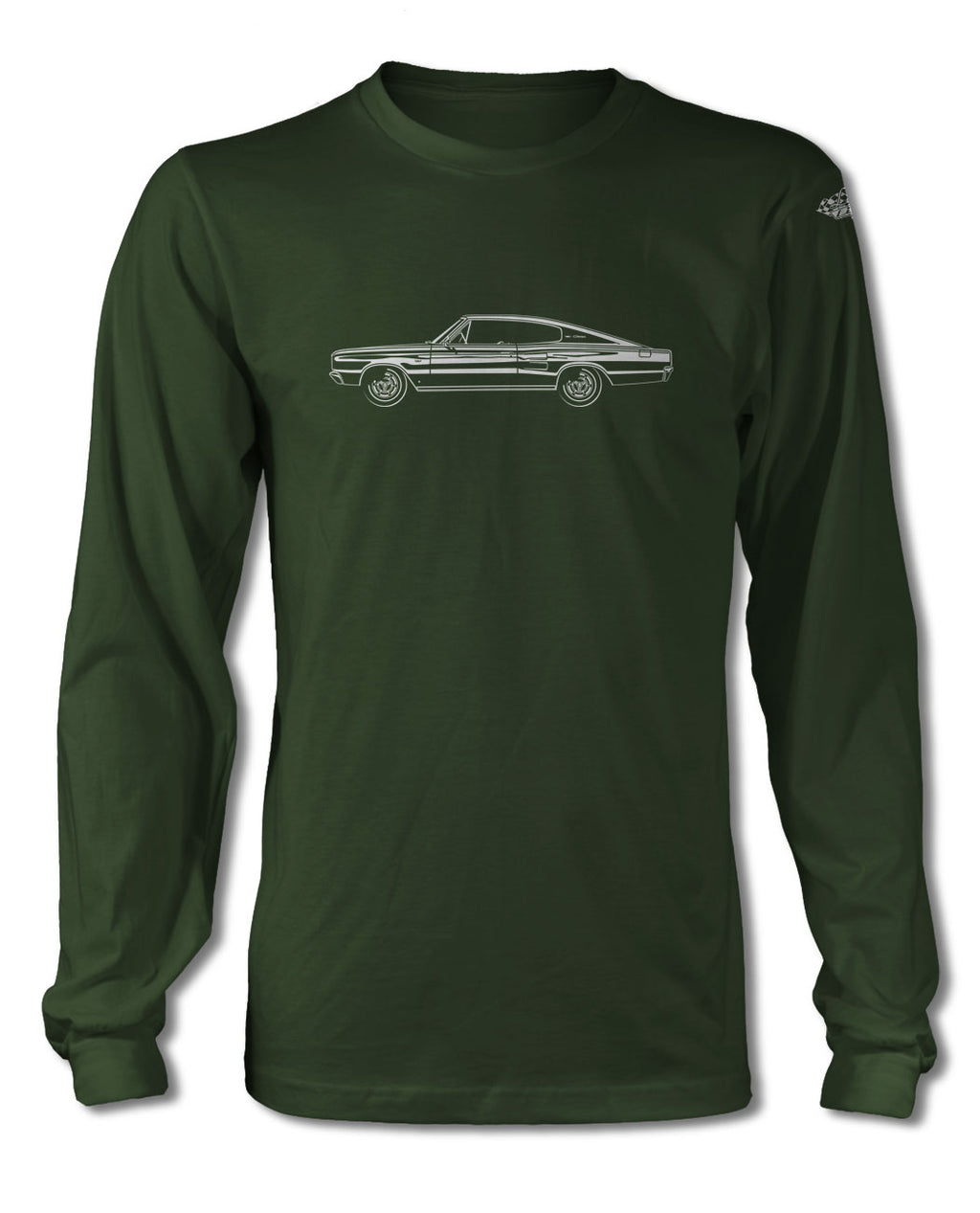 1966 Dodge Charger Coupe T-Shirt - Long Sleeves - Side View