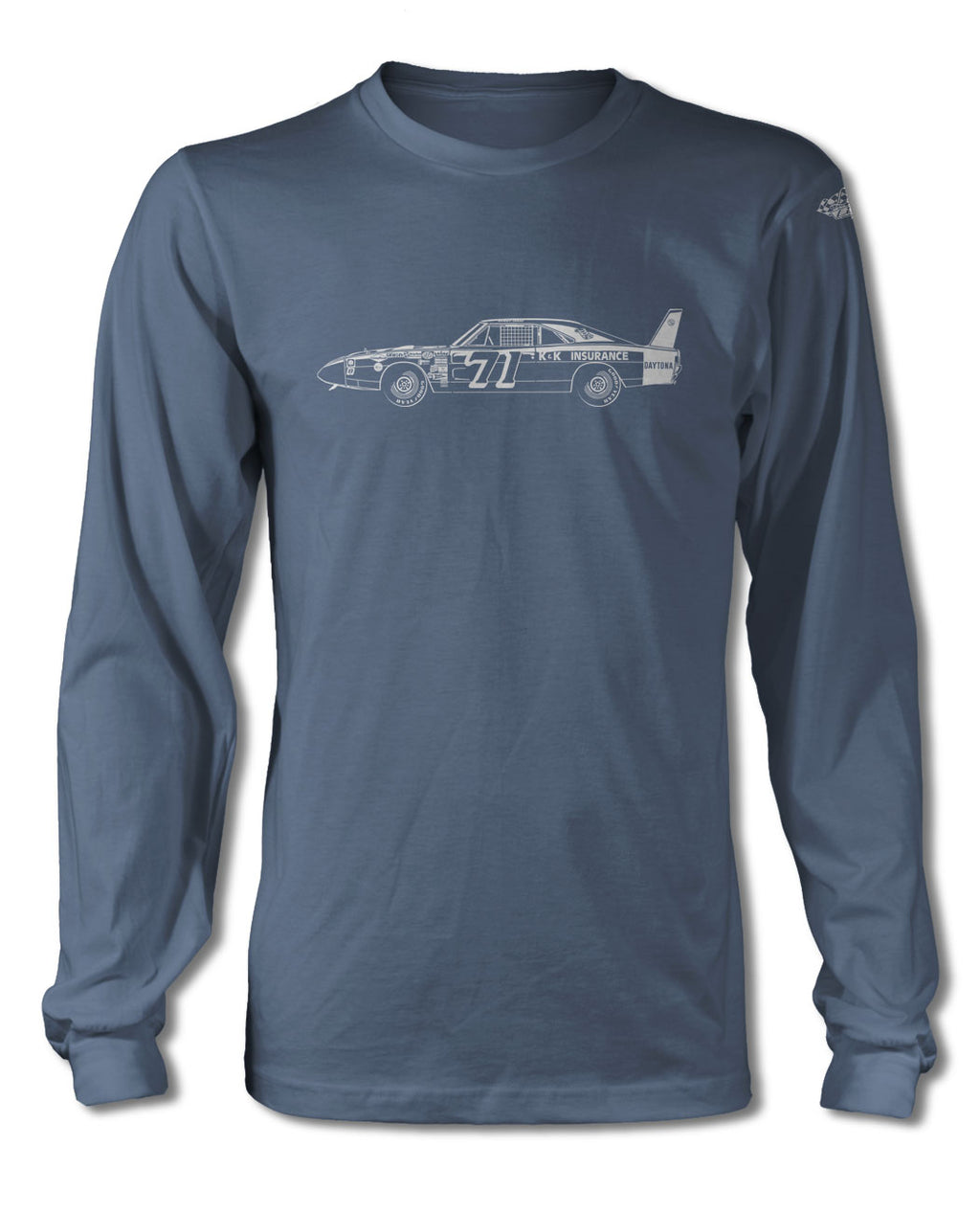 1969 Dodge Charger Daytona Bobby Issac #71 T-Shirt - Long Sleeves - Side View