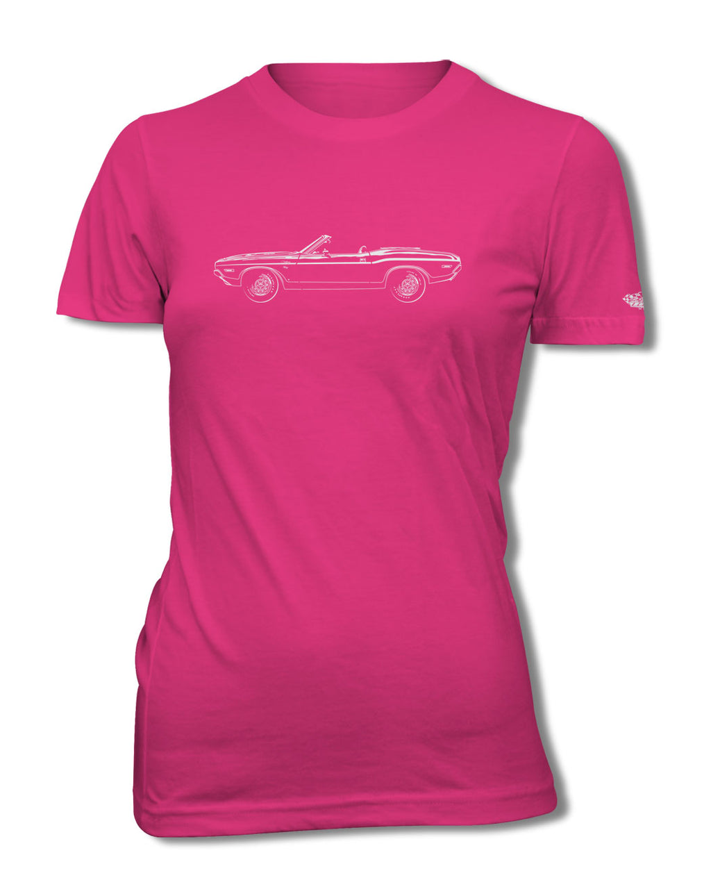 1970 Dodge Challenger RT Convertible Bulge Hood T-Shirt - Women - Side View