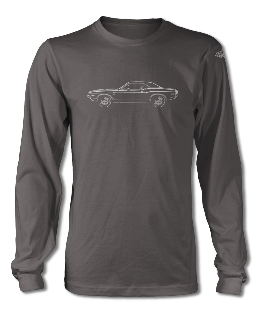 1970 Dodge Challenger RT Scat Pack Coupe Bulge Hood T-Shirt - Long Sleeves - Side View