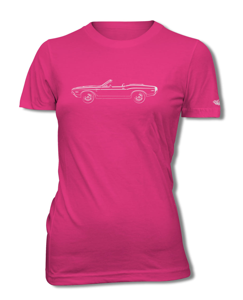 1970 Dodge Challenger RT Scat Pack Convertible Bulge Hood T-Shirt - Women - Side View