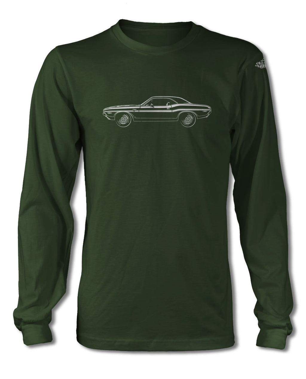 1970 Dodge Challenger RT with Stripes Coupe Bulge Hood T-Shirt - Long Sleeves - Side View