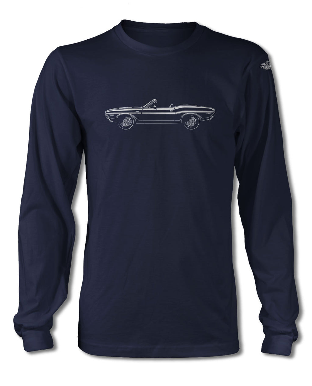 1970 Dodge Challenger RT with Stripes Convertible Bulge Hood T-Shirt - Long Sleeves - Side View