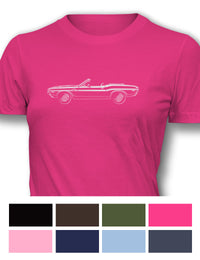1970 Dodge Challenger RT with Stripes Convertible Bulge Hood T-Shirt - Women - Side View