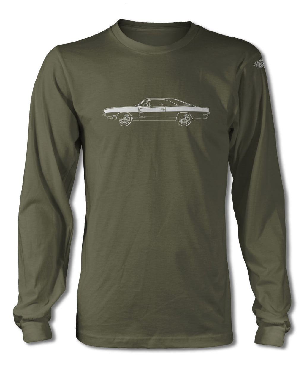 1970 Dodge Charger Base Hardtop T-Shirt - Long Sleeves - Side View