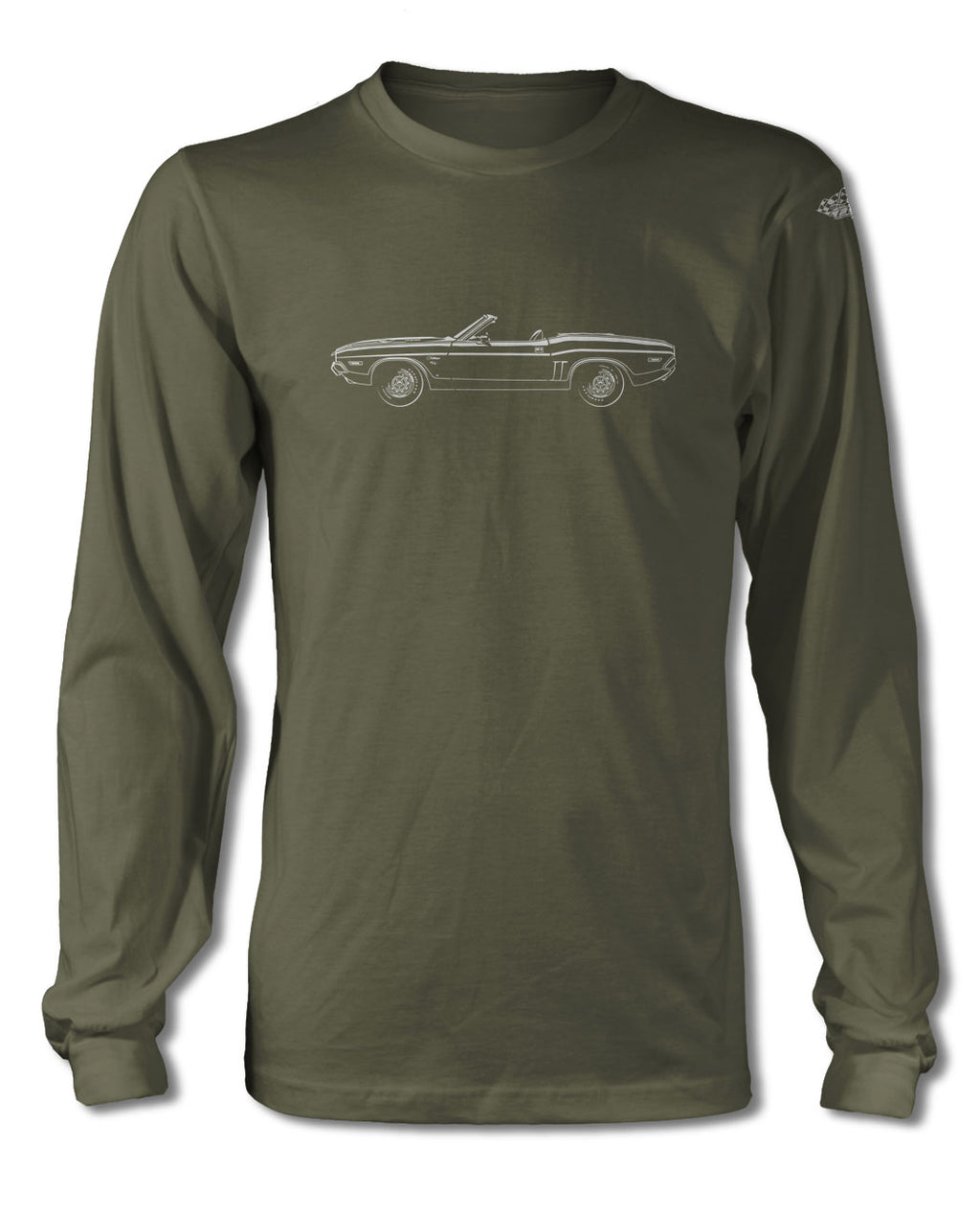 1971 Dodge Challenger RT Convertible Bulge Hood T-Shirt - Long Sleeves - Side View