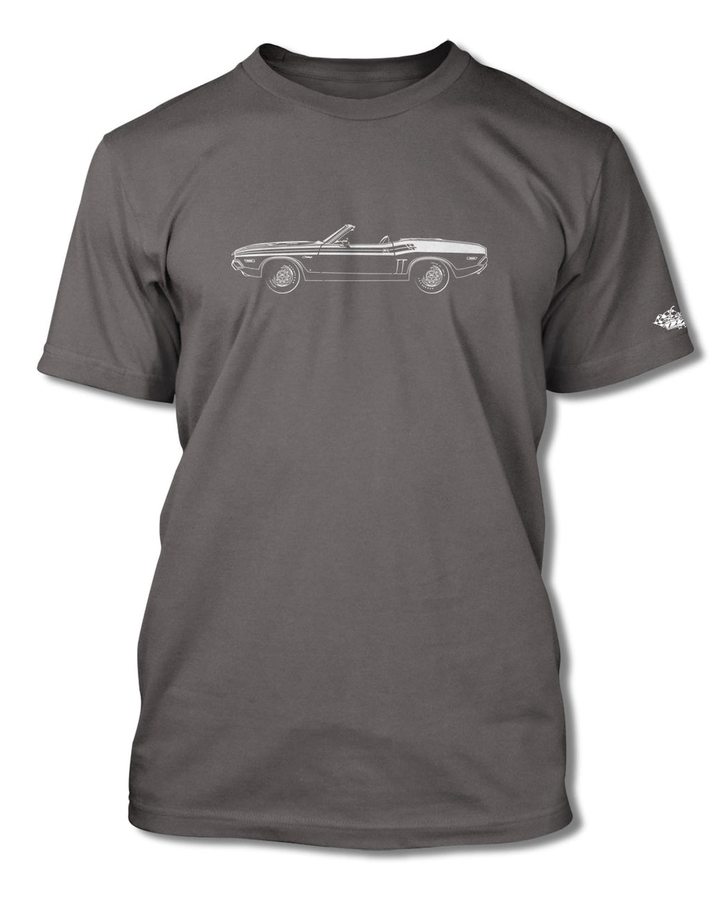1971 Dodge Challenger RT with Stripes Convertible Bulge Hood T-Shirt - Men - Side View