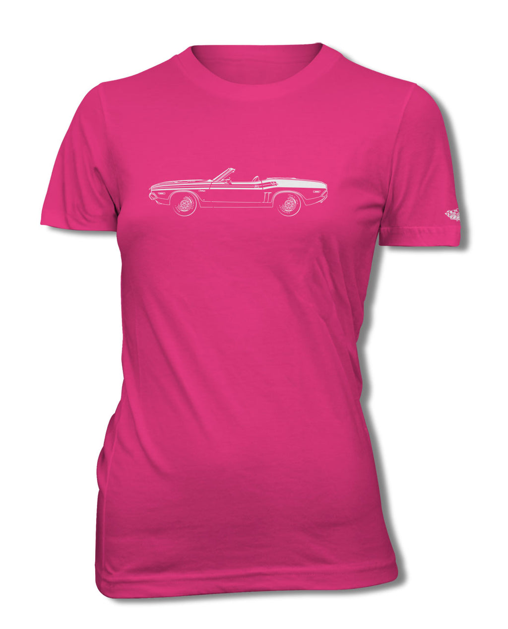 1971 Dodge Challenger RT with Stripes Convertible Bulge Hood T-Shirt - Women - Side View
